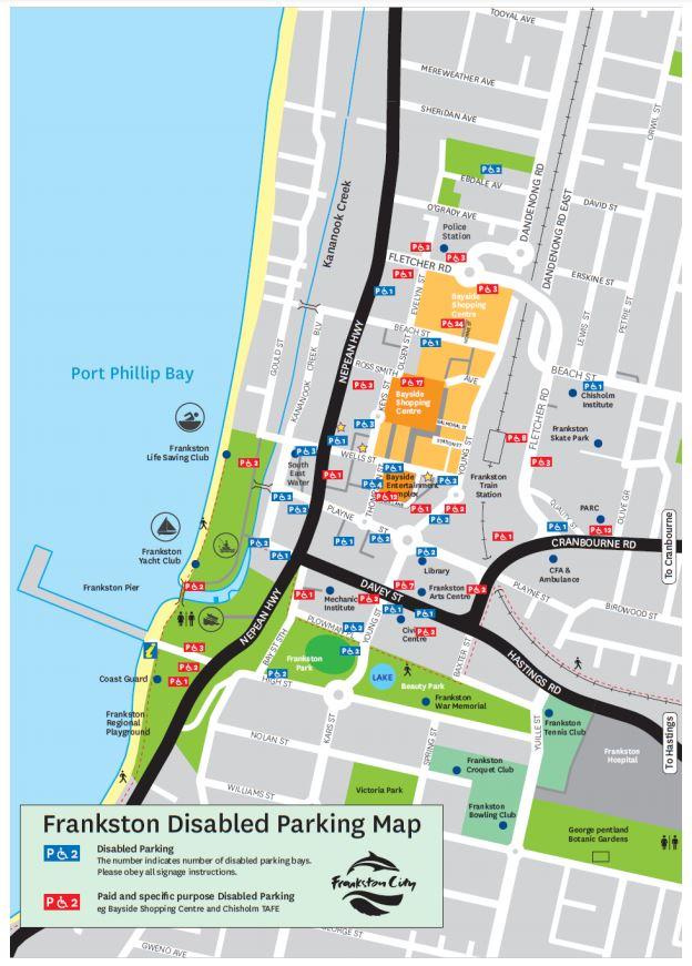 Frankston disabled car parking map Jan 2019