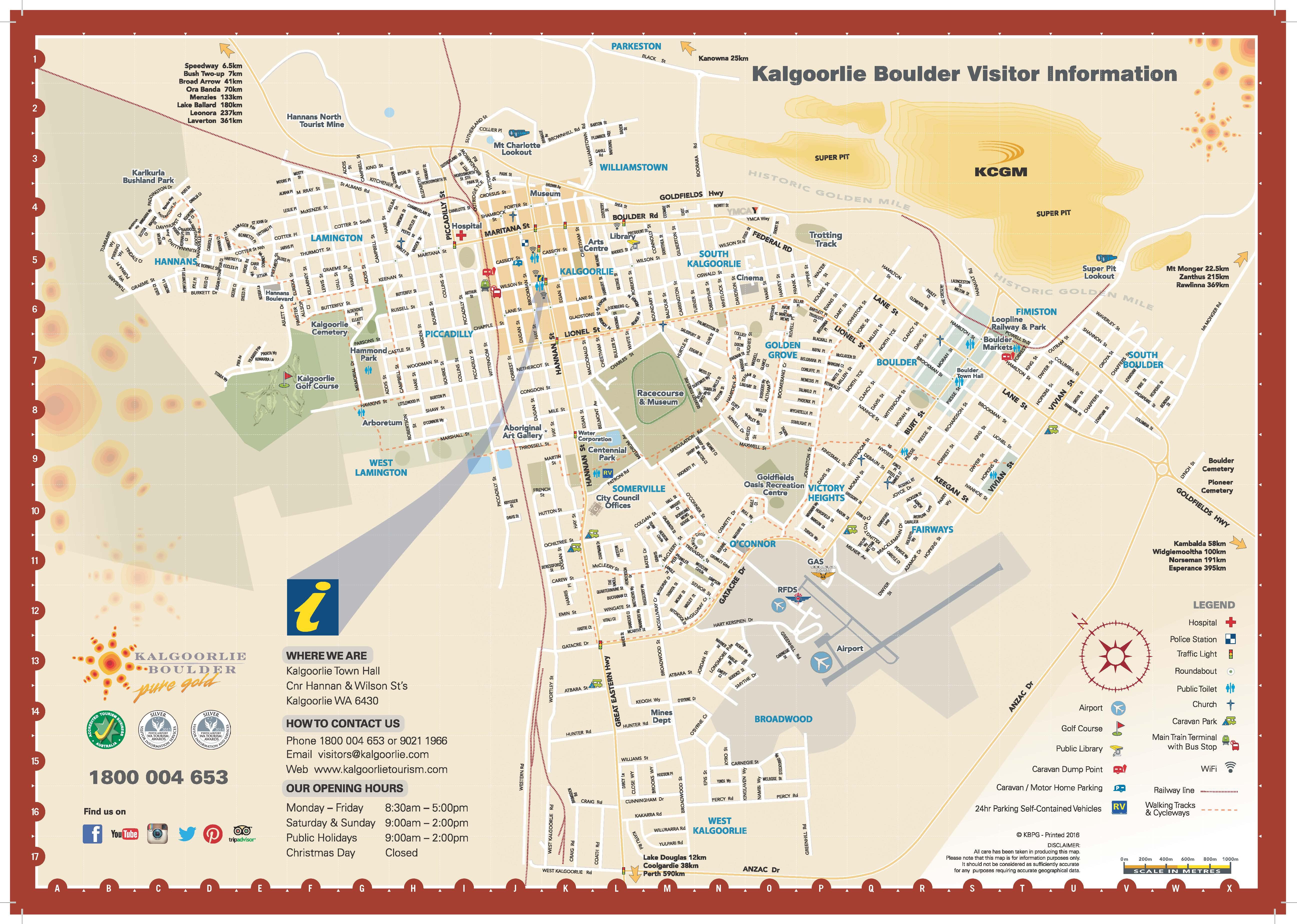 Map of Kalgoorlie Boulder Kalgoorlie Boulder Tours Accommodation