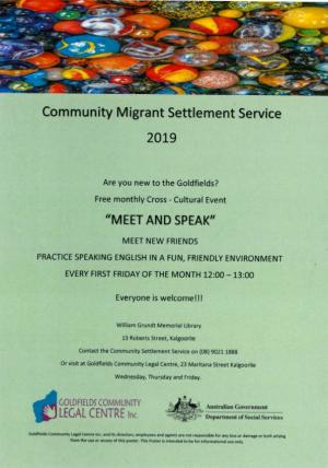Community Migrant Settlement Service Meet & Speak Session