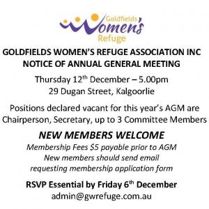 AGM - Goldfields Women's Refuge Association Inc