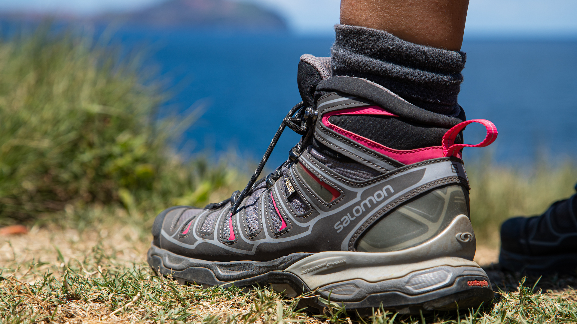Close-up of grey and pink Salomon hiking shoe on grass.