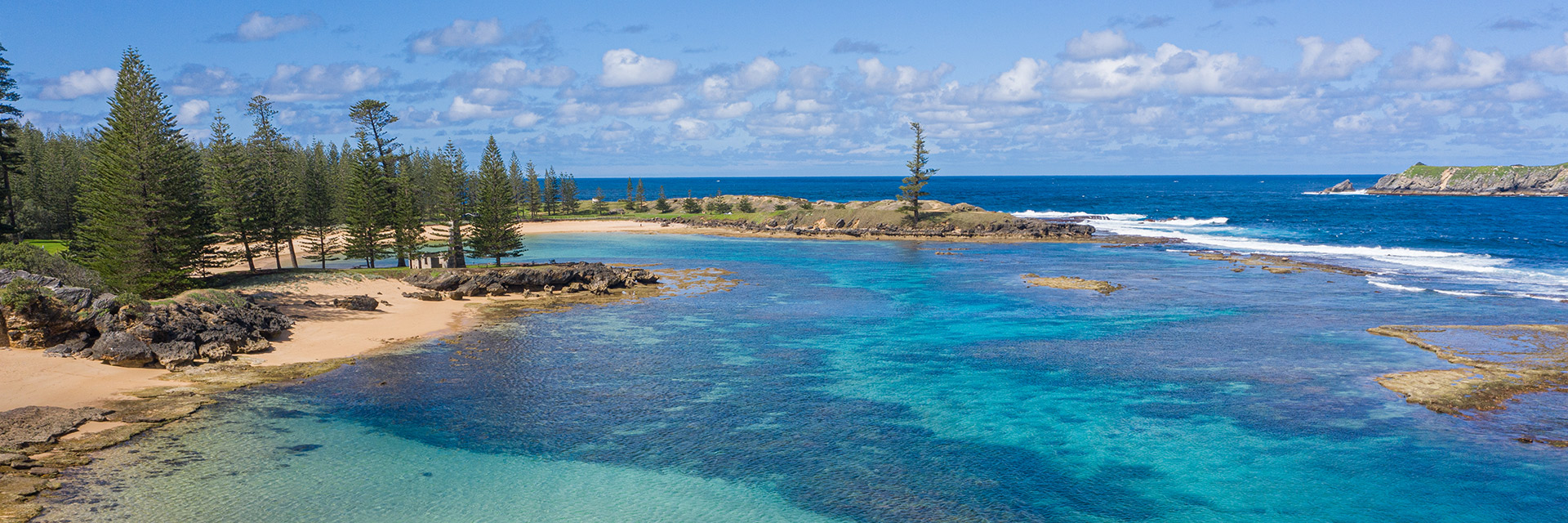 Shallow bay with coral and Norfolk Pine Trees on the shore.