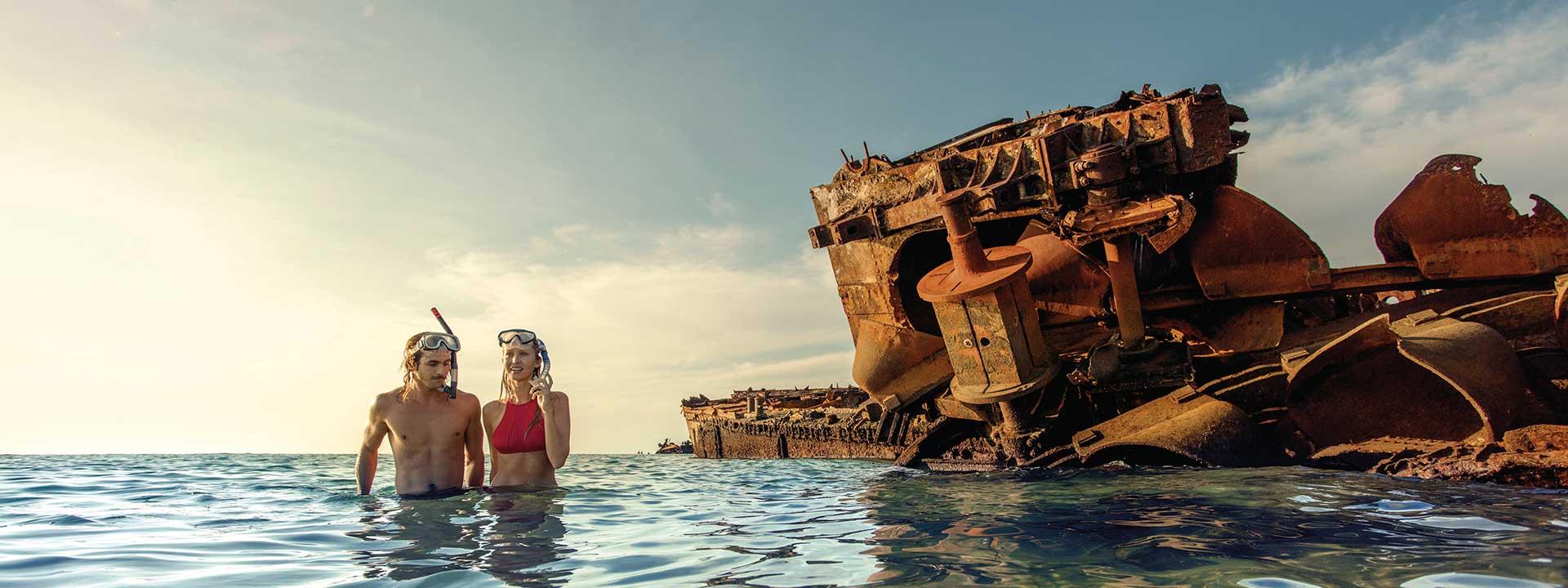 Dive around the Tangalooma Wrecks near Moreton Island