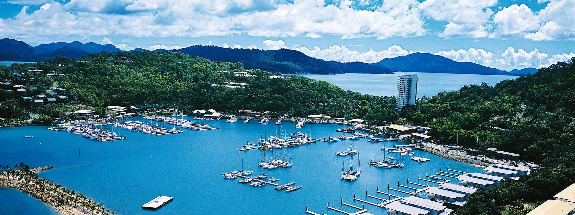 Take in the beautiful view of the Hamilton Island marina