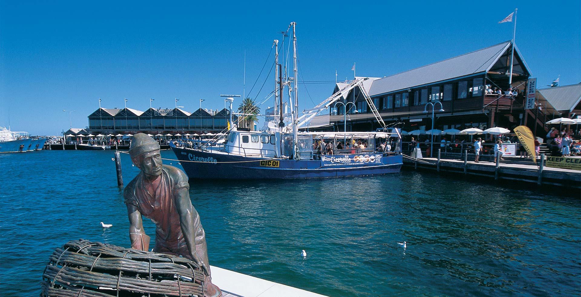 Enjoy ocean front dining in Fremantle's Fishing boat harbour